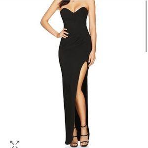 Nookie long black strapless dress